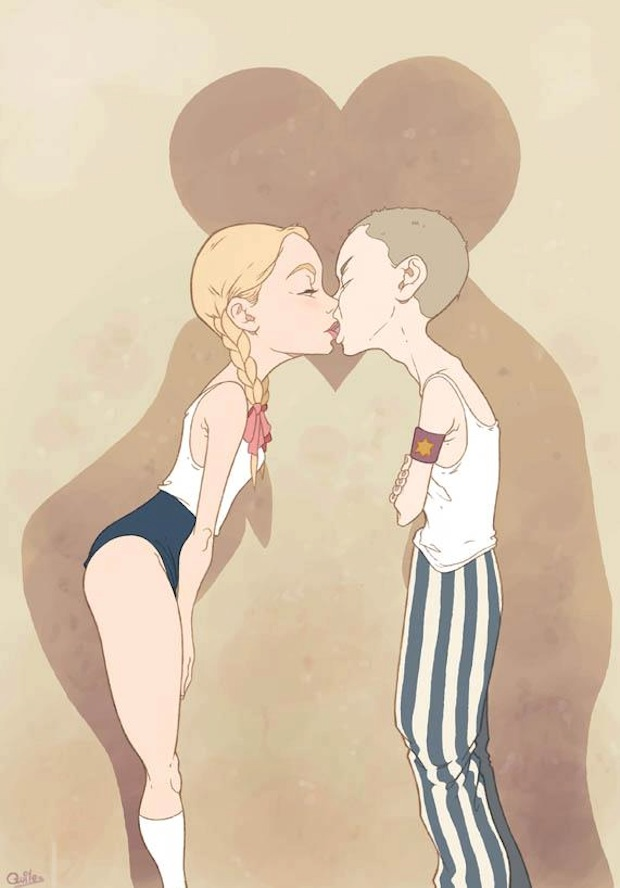 luis quiles illustrazione bambina gioventù hitleriana e bambino ebreo