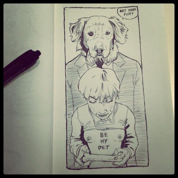 luis quiles illustrazione cane dog perro tette erotic art drops