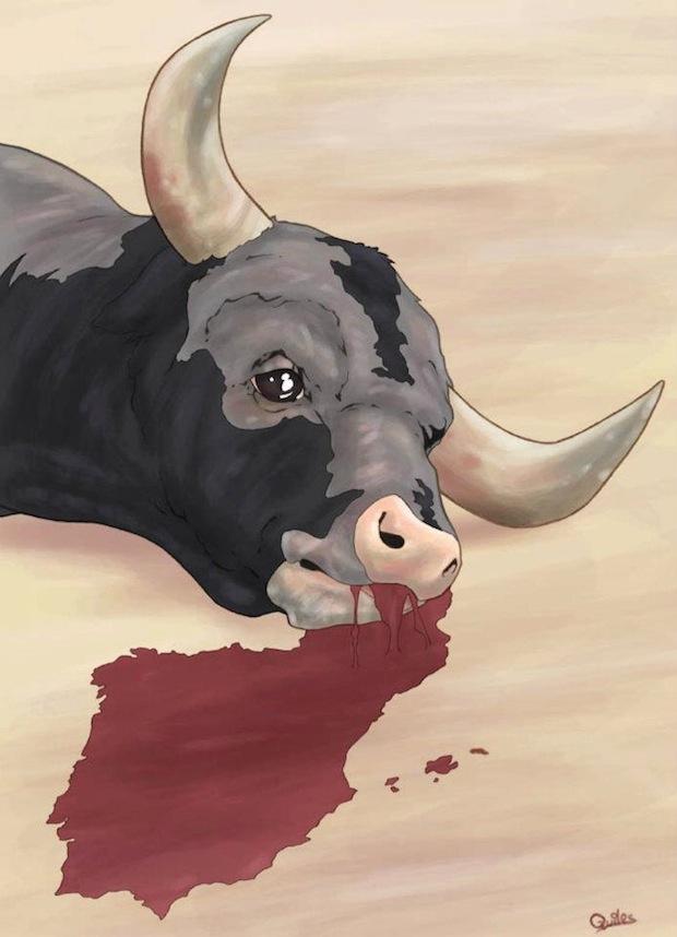 luis quiles illustrazione toro sangue corrida
