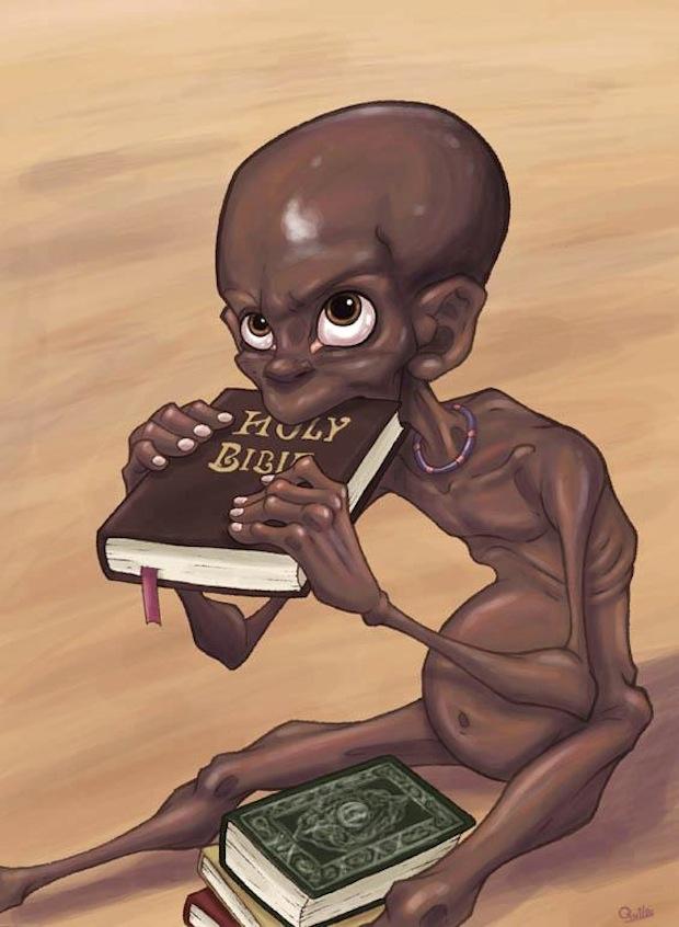luis quiles illustrazione bambino nero che mangia la bibbia