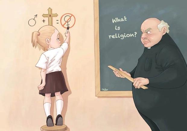 luis quiles illustrazione religione ruolo della donna sottomessa patriarcato